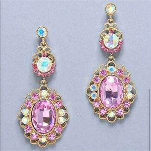 Gold and Pink Costume Jewelry Pink Earrings